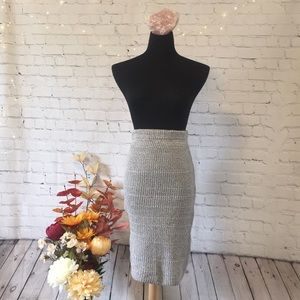 MISSGUIDED Grey knitted fitted skirt